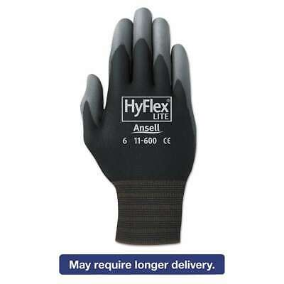 AnsellPro HyFlex Lite Gloves, Black/Gray, Size 10, 12 Pairs 076490007560
