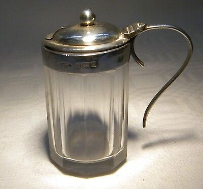 Sterling Silver Mounted & Glass  Mustard Pot Birmingham 1904