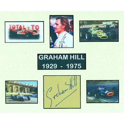 Graham Hill - Autograph - Signature Mounted with Colour Photographs