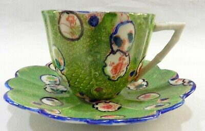 Antique CHINESE Hand Painted Demitasse CUP & SAUCER Green Snakeskin PATTERN