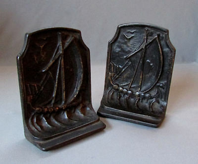 Pair Antique ARTS & CRAFTS Cast Iron VIKING SHIP BOOKENDS circa 1900