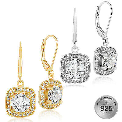 0e21b4f0a 925 Sterling Silver Square AAA CZ Round Cut Halo Leverback Dangle Earrings