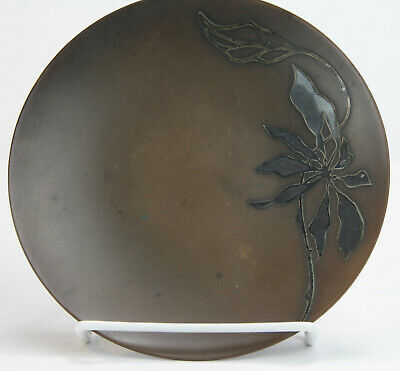 Heintz Sterling-on-Bronze Plate with Stylized Foliate Overlay