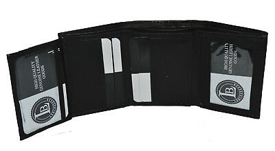 Mens Trifold 4 Fold Genuine Leather Wallet Card Holder New Black by Leatherboss