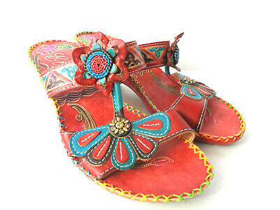 4bcf2adc8 ELITE by CORKYS Jamaica US 8M Leather Hand Painted Flower Wedge Slides  Sandals