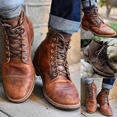 129ee50c639d Retro Mens Leather Combat Lace Up Military Army Biker Ankle Boots Shoes  Fashion
