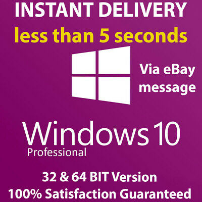 Microsoft Windows 10 Pro Professional 32/64 bit Genuine Product Code License Key