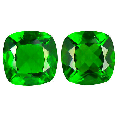 1.86 ct MATCHING PAIR Significant Cushion Cut (6 x 6 mm) Green Chrome Diopside
