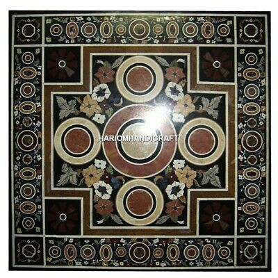 "48"" Black Marble Dining Table Top Geometric Oval Inlay Beautiful Furniture H4332"