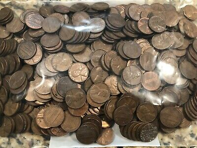 (Lot of 500) 1960-D small date circulated Lincoln Memorial copper cents.