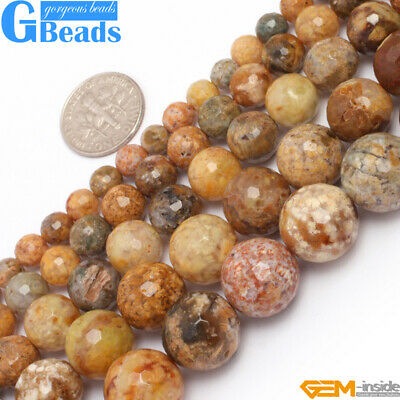 """Natural Crazy Lace Agate Gemstone Faceted Round Beads For Jewelry Making 15"""""""