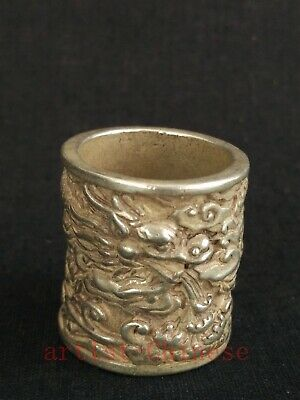 Collected China Tibet Silver Hand-made Force Dragon Statue Thumb Ring or Pendant