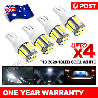 4X T10 LED 10-SMD 7020 W5W Wedge Bulb Car Dome Interior Map Lights Lamps White