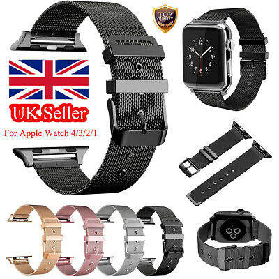 For Apple Watch Series 3 4 38MM/44M Milanese Buckle Loop Wrist Strap Watch Band