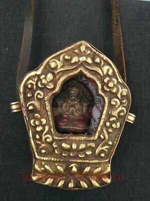 Collection China Tibet Old Copper Carving Buddha Statue Boxes Pendant Decoration