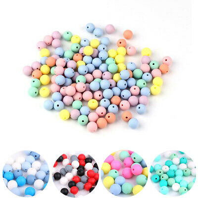 40PC Silicone Beads Baby Teether Teething Toy Chew Bead Pacifier Chain DIY 12MM