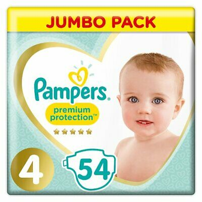 54 Pampers Size 4 Baby Premium Protection Nappies Jumbo Pack Nappy