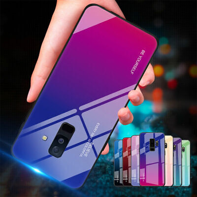 Gradient Tempered Glass Case For Samsung Galaxy Note 10 9 8 S8 S9 S10 Hard Cover