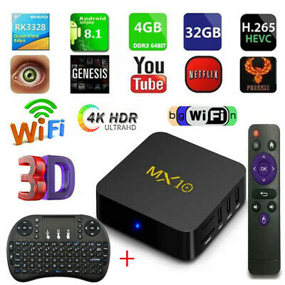 Lot MX10 RK3328 TV BOX 4G+32G H.265 WiFi 4K Smart Android Media Player Keyboard