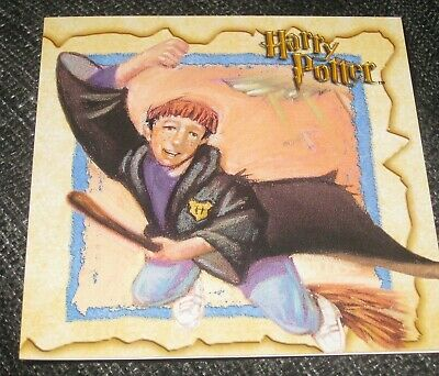 Harry Potter cartoon style blank greeting card, Hogwarts, Ron, Hermione, wizards