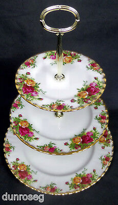 Old Country Roses 3-Tier Cake Stand, New Centre Pole, England, Royal Albert
