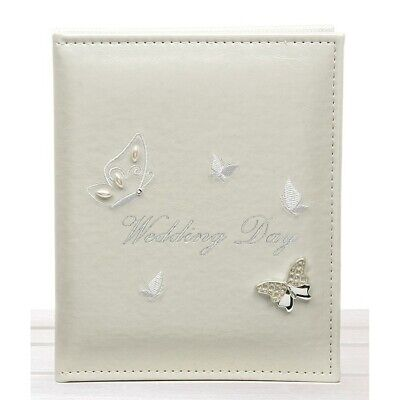 "Ivory Cream Wedding Day Butterfly Photo Album 5 x 7 "" Photographs Gift Box"