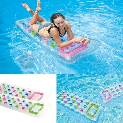 """Inflatable 18 Pocket Fashion Beach Swimming Pool Lounger Lilo Air Bed 74"""" X 28"""""""