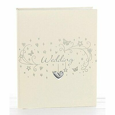 "Ivory Cream Wedding Day Butterfly & Heart Photo Album 5 x 7"" Photograph Gift Box"