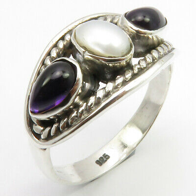 925 Solid Silver Genuine Amethyst, Pearl Ancient Style Ring Size 6 Ladies Stone