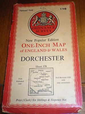 Vintage National Grid Cloth Ordnance Survey Map 178 DORCHESTER
