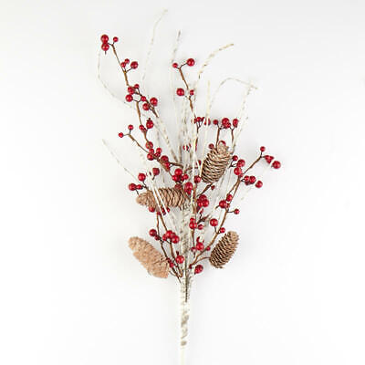 Red Berry and Birch Twig Spray with Pine Cones