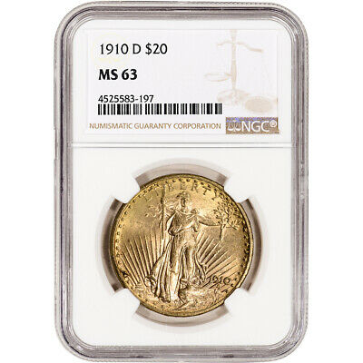 1910-D US Gold $20 Saint-Gaudens Double Eagle - NGC MS63
