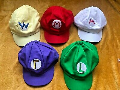 Super Mario Bros Mario & Luigi Caps Adult Teenagers Hat Costume Fancy Dress NEW