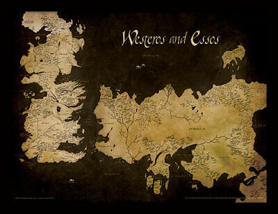 Game Of Thrones Westeros And Essos Antique Map - Framed 30 x 40 Official Print