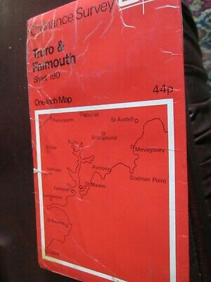 Ordnance Survey One inch map Sheet 190 Truro & Falmouth  1961  red cover