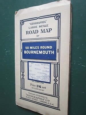 Vintage Geographia Large scale road map 50miles round Bournemouth