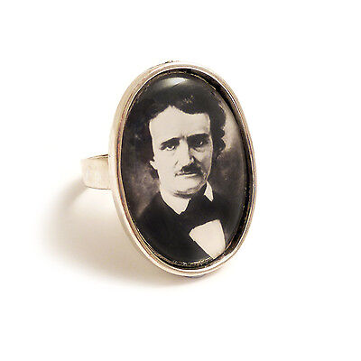Edgar Allan Poe ring gothic goth silver adjustable steampunk the raven lenore