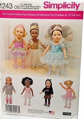 New Pattern 1243 (0438) Doll Clothes Ballet Dance  fit 18 inch American Girl