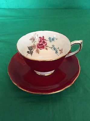 Aynsley Bone China Cup & Saucer Red With Flowers Inside The Cup