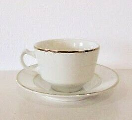 Homer Laughlin Diplomat Gold Rim White China Coffee Cup Saucer