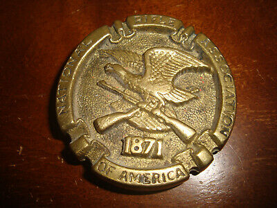 Vtg NRA National Rifle Association 1871 Brass Belt Buckle