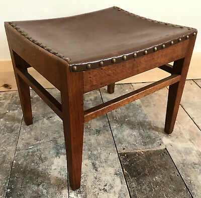 Arthur Simpson of Kendal Oak and Leather Foot Stool Arts and Crafts
