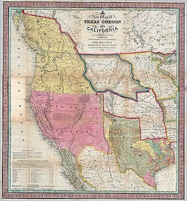 1846 Texas Republic Era Old Map Atlas Poster Early History State - Old-map-of-us
