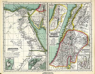1903 old antique 2 maps of ANCIENT WORLD empires EGYPT Phoenicians HOLY LAND 3