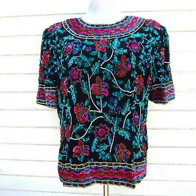 Vintage Niteline Beaded Sequined Embellished Floral Silk Top Women XL Glam