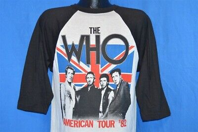 vintage 80s THE WHO AMERICAN TOUR 82 3/4 SLEEVE VIDEO GAME SCHLITZ t-shirt MED M