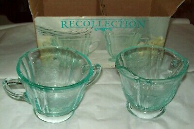 Indiana Glass Recollection 2 Piece Cream & Sugar Bowl Set w. Box/Teal Madrid