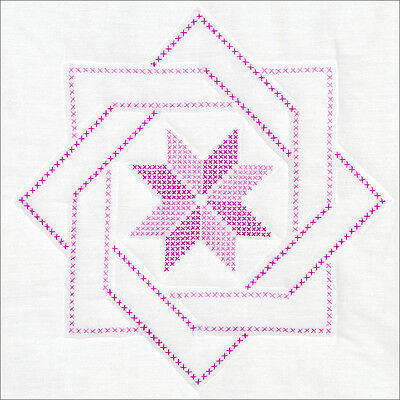 "Jack Dempsey Stamped White Quilt Blocks 18""X18"" 6/Pkg-Woven Star"