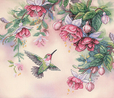 "Dimensions Stamped Cross Stitch Kit 14""X12""-Hummingbird & Fuchsias"