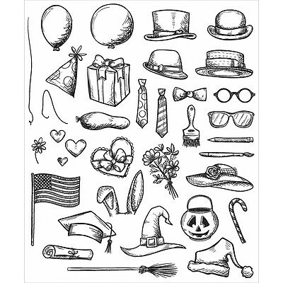 7-Inch by 8.5-Inch Attic Treasures Stampers Anonymous CMS-LG-123 Tim Holtz Cling Rubber Stamp Set